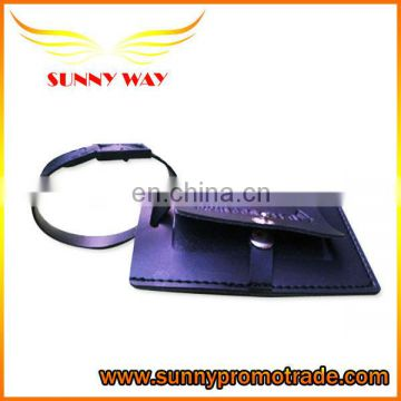 High Quality Black Leather Luggage Tags