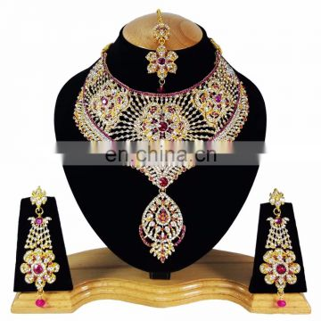 Bolllywood Designer Gold Plated Bollywood Party wear Jewelry Necklace Set Pink Color