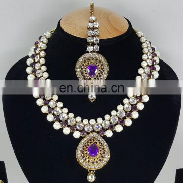 Western Designer Beautiful Pearl Crystal Purple Stone Gold Plated Wedding Collection Kundan Zerconic Necklace set