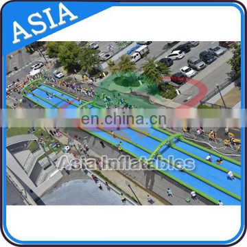 Summer Inflatable Sport 200m Double Lanes Inflatable Slip N Slide In Street