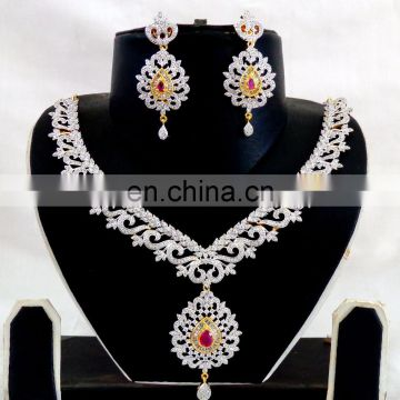 Bollywood style american diamond Necklace set-wedding wear Diamond Necklace set-Wholesale American Diamond Gold Plated Jewellery