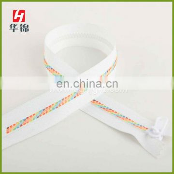 Good Quality Plastic Colored Teeth Printed Zipper