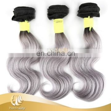 Fashionable 100% original bulk russian hair gray purple hair extension with black root