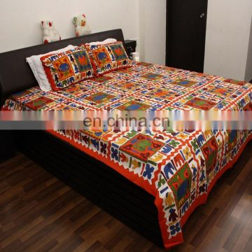 Jaipuri elephant printed bedsheet 100% cotton bed spread hotel & home bedsheet with 2 pillow cover