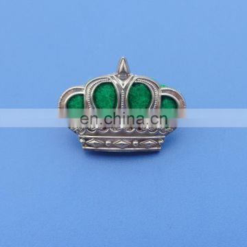 Transparent Green Soft Enamel Metal Crown Lapel Pins - 3D Design