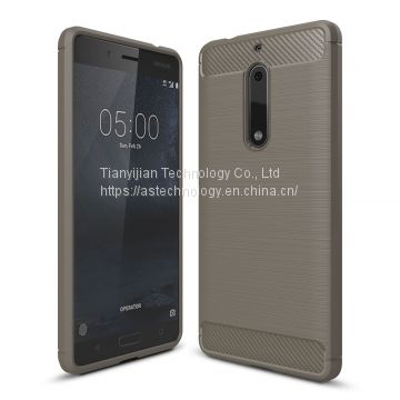 Phone Case Cover for Nokia 5 Slim Shock Asorption Anti-dust Carbon Fiber Brushed