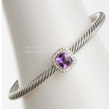 Hot Sale Women 925 Sterling Silver Amethyst Noblesse 4mm Cable Cuff Bracelet