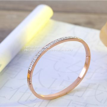 Gold Rose Gold Silver PVD Plating Womens Mens Rhinestone Stainless Steel Bracelet Armbånd Esposas