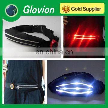 2014 New led belt bag custom reflective belts multifunction sports waist bag belt bag