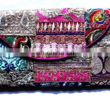Hand Embroidery Zari Work evening Clutch Hand Bag Purse Vintage ethnic Tribal Clutch Messenger cross body bag Indian Clutches