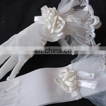 Newest Beautiful Lady's Ivory Short Tulle Wedding Gloves Lace Trim With Satin Flower&Bow Full Finger Bridal Gloves