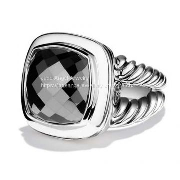 Sterling Silver DY Inspired 14MM Albion Ring with Hematine