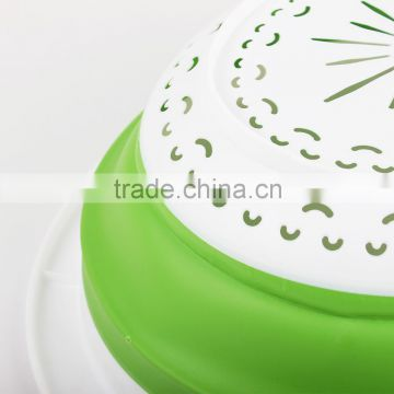 Portable round customized colorful food grade plastic Collapsible Basket
