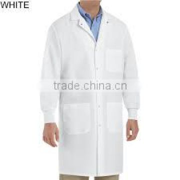 Polypropylene medical Lab Coat, No Pockets, Elastic Wrists, Touch Fastener Front, Single Collar