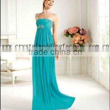 New arrival strapless ruched turquoise beaded custom-made evening gowns CWFac4579