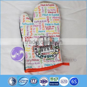 wholesale customized printing cotton oven mitt