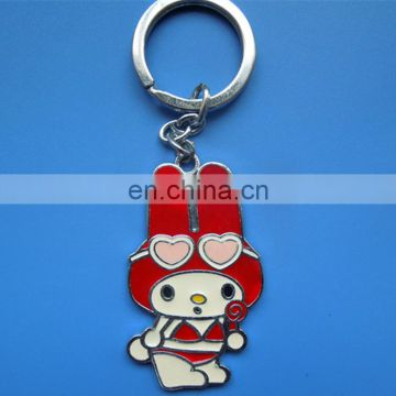 cartoon cute rabbit shape silver plated custom logo decoration keychain