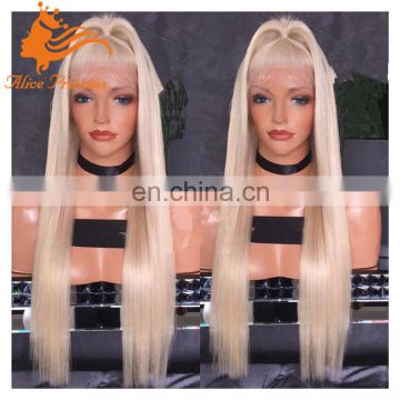 blonde human hair full lace wig 60#color silky straight blonde lace front wig