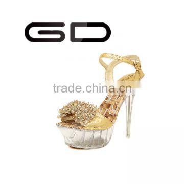 22e919b262bfaf Party wear platform high heel shoes Gold crystal decorated pencil heel  sandals Popular ladies high heel shoes of Sandals from China Suppliers -  107632873