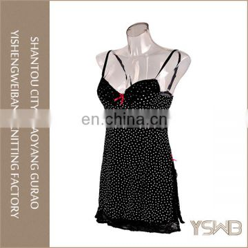 Ladies's polyester white spots printed black lace elegant long nightgowns
