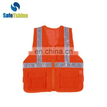 Cheap high visibility security reflective safety vest with pockets