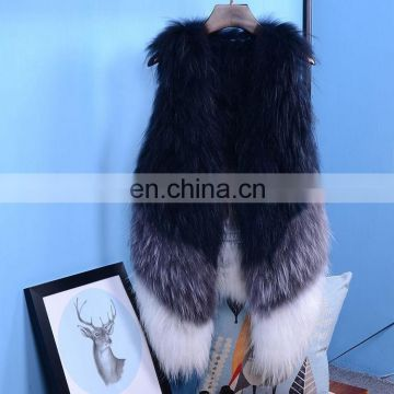 China Supplier Women Knitted Gilet Real Raccoon Fur Outwear Vests