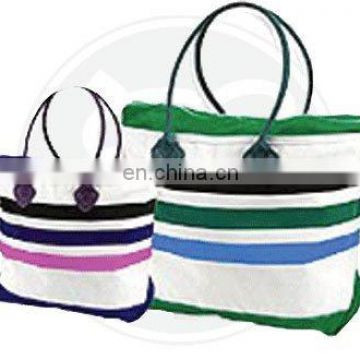 HORIZONTAL STRIPE COTTON CANVAS TOTE BAG