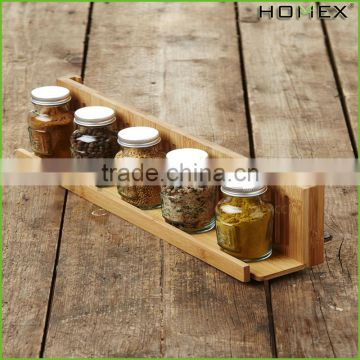 Bamboo Spice Rack Kitchen Spice Jar Rack Homex-BSCI Factory