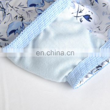 China New Arrival Blue & White Porcelain Printed Padded Young Girl Sexy Fancy Panty Bra Set