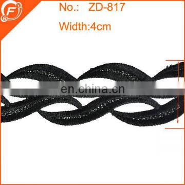 2014 fashion black embroidered lace trim for dress flower pattern