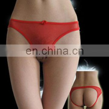 sexy girl g-string open back red mesh pantie