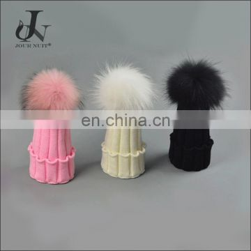 China Supplier Winter Kids Knitted Caps With Raccoon Fur Colorful Pompoms Hats