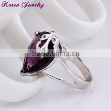 New Big Amethyst Purple Zircon Crystal Ring Party Engagement Exaggerated Wedding Rings for Women Platinum Plated