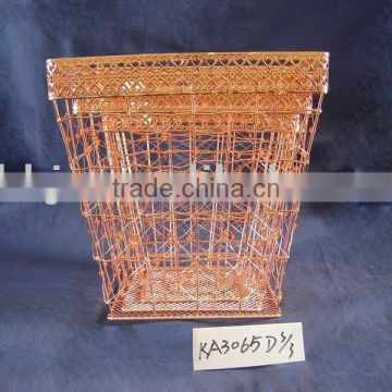 Cuprous rectangle iron wire waste paper storage basket