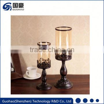 New design China Manufacturer low price cheap tall glass candle holders