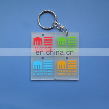 Square shape customzied embossed green logo transparent soft pvc keychain
