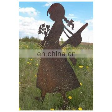 Garden Decoration Girl Stainless Steel Laser Cut Wall Arts For Sale