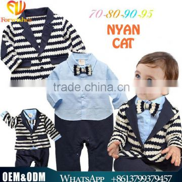 Hot Sale Spring & Autumn Gentleman Kids Clothes Baby Boy Cotton Long Sleeves Jumpsuits Breathable Striped Suit Boy Clothing Suit