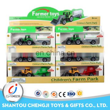 Funny plastic happy farm toys slide fram truck for kids
