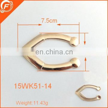 Good quality gold metal shining U shape metal bag making accessories
