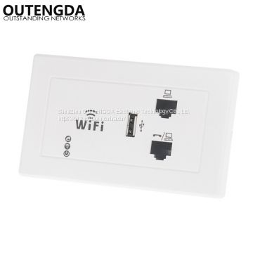 300M 120 IN-Wall Wireless AP for Hotel Domitory Office Rooms USB Charge Interface Access Point Socket WiFi Extender Rou