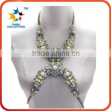 hot sell body belly chain jewelry multi color diffuser chunky statement bodychai necklace DIY sexy body chain jewelry
