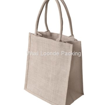 Handmade burlap book tote bag with zippered closure