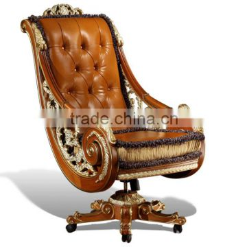 Luxury Genuine Leather Office Chair New Design Baroque Golden Carved Swivel Executive Quality