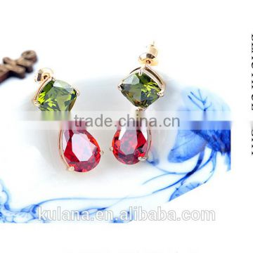 EZ-43 Crystal Micro Paving Brass Material Rhodium Plated H-Quality Bridal Dangle Clear Zircon Crystal Earrings