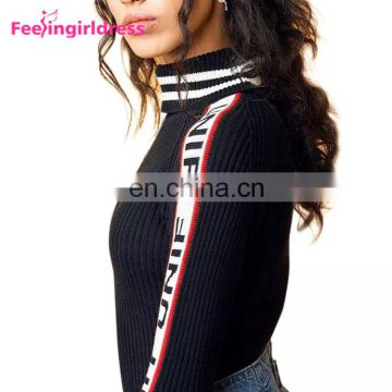 2017 Elasticity High Neck Knitted Jumpers Printed Black Sweater Winter Women