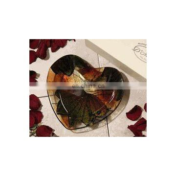 Rustic Leaf Heart Shaped Glass Candy Dish