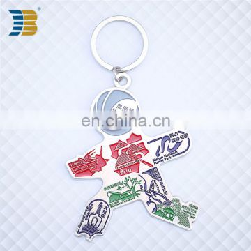3D person shape custom made metal painted keychain with engraving