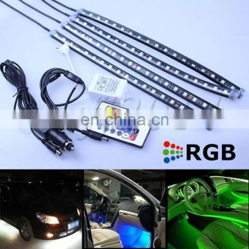 4x30cm LED RGB interior light knight rider scanner foot light with remote controller