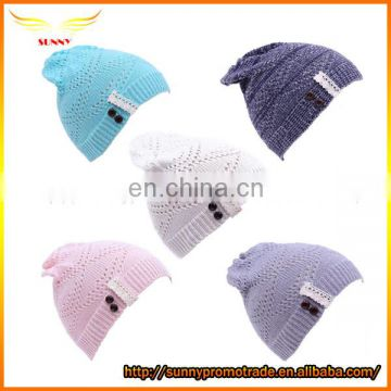 Fashion design girl women knitted printed pattern beanie winter hats